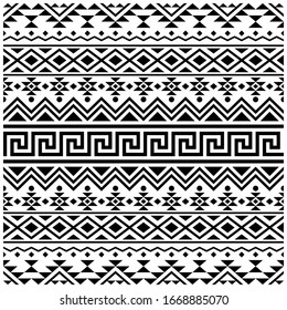 Ikat aztec ethnic pattern background vector in black and white color