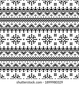 Ikat aztec seamless ethnic pattern texture background design vector in black white color