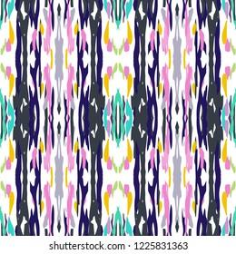 Ikat batik print modern style, shibori fabric design. Tribal embroidery ethnic seamless pattern. Vintage endless repeat ornament. Traditional folk ikat texture. Vector watercolor geometric background.