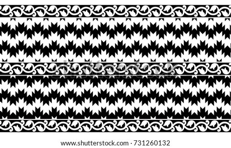 Ikat Border Design Black White Stock Vector Royalty Free 731260132
