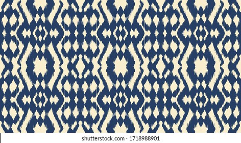 Ikat border. Geometric folk ornament. Tribal vector texture. Seamless striped pattern in Aztec style. Ethnic embroidery. Indian, Scandinavian, Gypsy, Mexican, African rug.