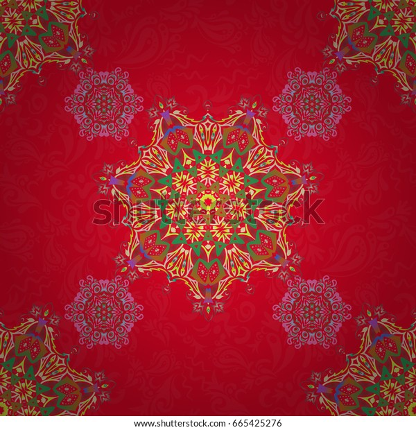 Ikat damask seamless pattern background tile in a green, beige and red colors.