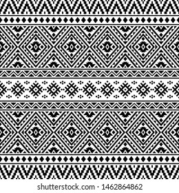 Ikat Ethnic Aztec Pattern Illustration Design black white color. design For Background, Frame, Border or Decoration. Ikat, geometric pattern, native Indian, Navajo, Inca Design