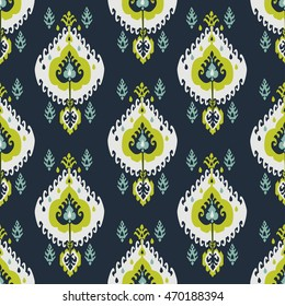 Ikat fabric seamless pattern abstract background vintage oriental