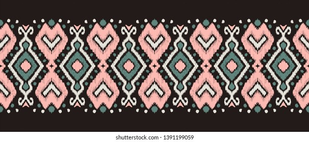 Ikat geometric folklore ornament. Oriental vector damask pattern. Ancient art of Arabesque. Tribal ethnic texture. Spanish motif on the carpet.  Aztec style.  Indian rug. Gypsy, Mexican  embroidery.