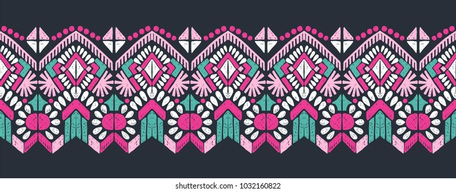 Cerise Pink And Turquoise Aztec Mirror Patterned Braid