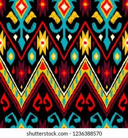 Ikat geometric folklore pattern. Ethnic folk ornament texture. Tribal mengikat textile. Aztec, Indian, Scandinavian, Gypsy or Mexican fabric.
