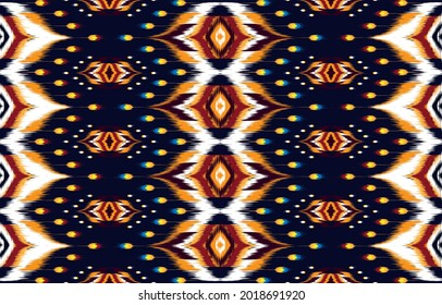 Ikat Indian seamless pattern design for fabric textile.  Molde patron abstracts . Aztec, boho, geometric, fabric,  ethnic, ikat, native, tribal, carpet, mandala, African, American chevron vector.