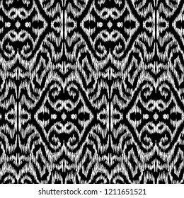 Ikat Ogee background - Ethnic folk seamless pattern. Abstract background for textile design, wallpaper, surface textures. Boho Style