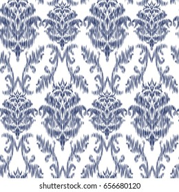 Ikat Ogee and Damascus ornament Seamless Background Pattern In the style of the Tapestry. Abstract background for textile design, wallpaper, surface textures.
