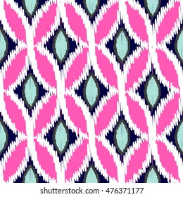 Ikat ogee rhombs vector seamless pattern. Abstract geometric background for fabric, print or wrapping paper. Indigo blue and fuchsia pink design.