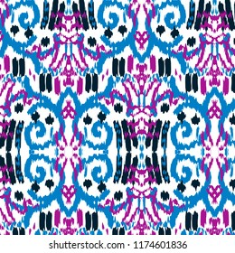 Ikat ogee seamless pattern background
