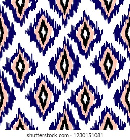 Ikat ogee seamless pattern background.