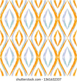 Ikat ogee seamless vector pattern illustration. Ethnic fabric print geometric ikat pattern. Simple ogee seamless repeating background. Ethnic motifs ikat textile print design. Fashion ornament.