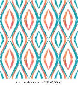 Ikat ogee seamless vector pattern design. Ethnic fabric print geometric ikat pattern. Modern ogee seamless repeating background. Tribal motifs ikat textile print design. Interior ornament.