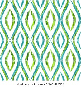 Ikat ogee seamless vector pattern design. Ethnic fabric print geometric ikat pattern. Minimal ogee seamless repeating background. Ethnic motifs ikat textile print design. Fashionable ornament.