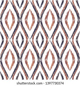 Ikat ogee seamless vector pattern design. Ethnic fabric print geometric ikat pattern. Ogee seamless repeating background. Ethnic motifs ikat textile print design. Fashionable ornament.
