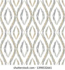 Ikat ogee seamless vector pattern design. Ethnic fabric print geometric ikat pattern. Minimal ogee seamless repeating background. Ethnic motifs ikat textile print design. Interior ornament.