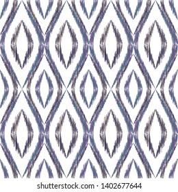 Ikat ogee seamless vector pattern design. Ethnic fabric print geometric ikat pattern. Minimal ogee seamless repeating background. Tribal motifs ikat textile print design. Interior ornament.