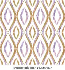 Ikat ogee seamless vector pattern design. Ethnic fabric print geometric ikat pattern. Cool ogee seamless repeating background. Tribal motifs ikat textile print design. Fashion ornament.