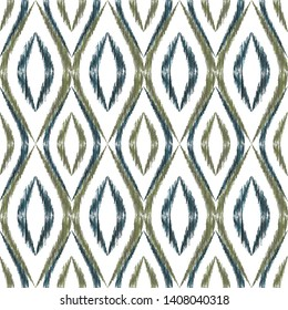 Ikat ogee seamless vector pattern illustration. Ethnic fabric print geometric ikat pattern. Cute ogee seamless repeating background. Ethnic motifs ikat textile print design. Fashionable ornament.