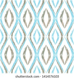 Ikat ogee seamless vector pattern design. Ethnic fabric print geometric ikat pattern. Wavy ogee seamless repeating background. Ethnic motifs ikat textile print design. Indian ornament.