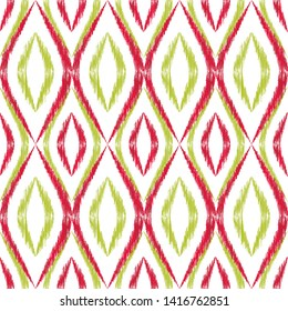 Ikat ogee seamless vector pattern illustration. Ethnic fabric print geometric ikat pattern. Wavy ogee seamless repeating background. Ethnic motifs ikat textile print design. Pillow ornament.