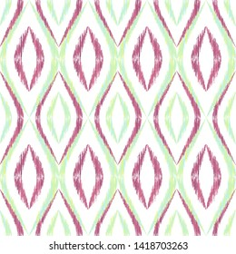 Ikat ogee seamless vector pattern illustration. Ethnic fabric print geometric ikat pattern. Smooth ogee seamless repeating background. Ethnic motifs ikat textile print design. Interior ornament.