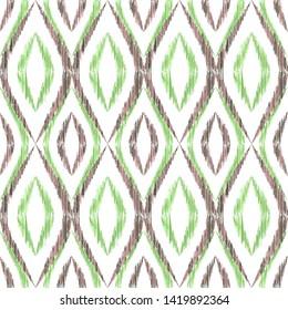 Ikat ogee seamless vector pattern illustration. Ethnic fabric print geometric ikat pattern. Wavy ogee seamless repeating background. Tribal motifs ikat textile print design. Indian ornament.