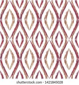 Ikat ogee seamless vector pattern design. Ethnic fabric print geometric ikat pattern. Cute ogee seamless repeating background. Tribal motifs ikat textile print design. Fashion ornament.