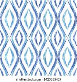 Ikat ogee seamless vector pattern design. Ethnic fabric print geometric ikat pattern. Minimal ogee seamless repeating background. Tribal motifs ikat textile print design. Indian ornament.