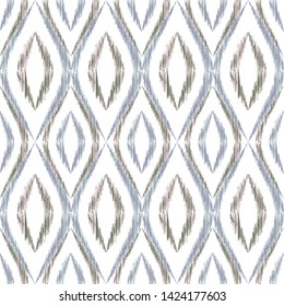 Ikat ogee seamless vector pattern illustration. Ethnic fabric print geometric ikat pattern. Cute ogee seamless repeating background. Tribal motifs ikat textile print design. Clothes ornament.
