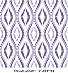 Ikat ogee seamless vector pattern illustration. Ethnic fabric print geometric ikat pattern. Minimal ogee seamless repeating background. Ethnic motifs ikat textile print design. Fashionable ornament.
