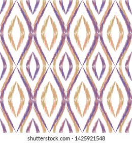Ikat ogee seamless vector pattern illustration. Ethnic fabric print geometric ikat pattern. Simple ogee seamless repeating background. Ethnic motifs ikat textile print design. Indian ornament.