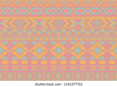Ikat pattern tribal ethnic motifs geometric seamless vector background. Awesome indian tribal motifs clothing fabric textile print traditional design with triangle and rhombus shapes.