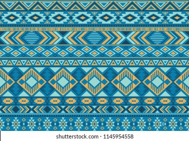 Ikat pattern tribal ethnic motifs geometric seamless vector background. Fashionable indonesian tribal motifs clothing fabric textile print traditional design with triangle and rhombus shapes.