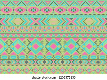 Ikat pattern tribal ethnic motifs geometric seamless vector background. Chic indian tribal motifs clothing fabric textile print traditional design with triangle and rhombus shapes.
