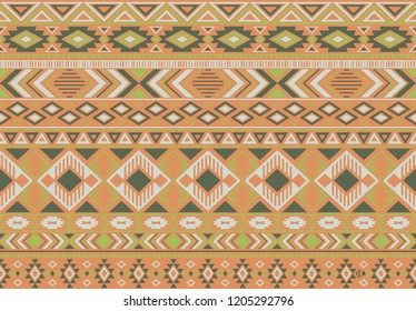 Ikat pattern tribal ethnic motifs geometric seamless vector background. Trendy ikat tribal motifs clothing fabric textile print traditional design with triangle and rhombus shapes.