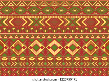 Ikat pattern tribal ethnic motifs geometric seamless vector background. Rich indonesian tribal motifs clothing fabric textile print traditional design with triangle and rhombus shapes.