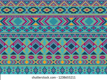 Ikat pattern tribal ethnic motifs geometric seamless vector background. Fashionable boho tribal motifs clothing fabric textile print traditional design with triangle and rhombus shapes.