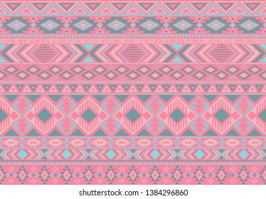Ikat pattern tribal ethnic motifs geometric seamless vector background. Trendy boho tribal motifs clothing fabric textile print traditional design with triangle and rhombus shapes.
