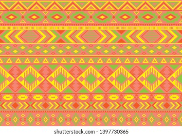 Ikat pattern tribal ethnic motifs geometric seamless vector background. Fashionable ikat tribal motifs clothing fabric textile print traditional design with triangle and rhombus shapes.