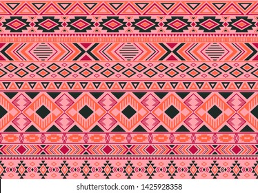 Ikat pattern tribal ethnic motifs geometric seamless vector background. Abstract boho tribal motifs clothing fabric textile print traditional design with triangle and rhombus shapes.