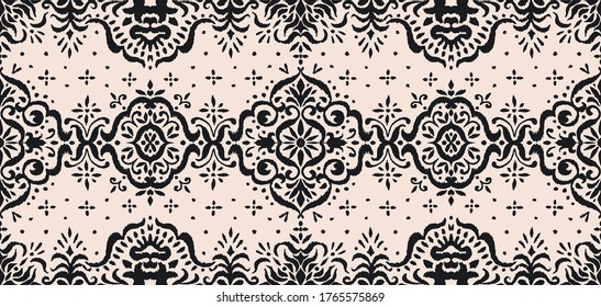 Ikat seamless pattern. Border with snowflakes. Openwork lace. New year Christmas background. Vector tie dye shibori print with stripes and chevron. Ink textured japanese background. Bohemian fashion.