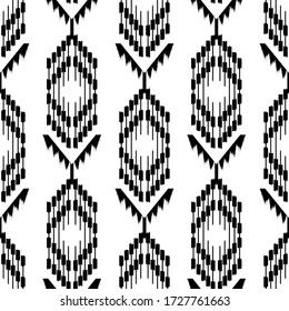 Ikat seamless pattern  as cloth, curtain, textile design, wallpaper, surface texture background. Vector EPS10