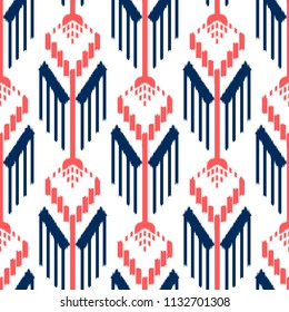 Ikat Seamless Pattern Design. Ethnic fabric. Bohemian fashion.