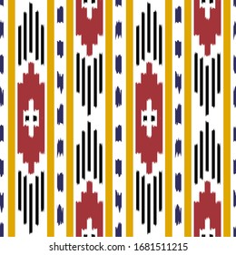 ikat Seamless Pattern Design for Fabric. Vector EPS10