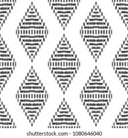 Ikat seamless pattern. Surface design for print, fabric, wallpaper, gift wrap, texture. Tribal vector illustration. Black and white background. Boho, ethnic style.