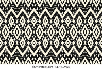 Ikat Seamless Pattern Vector Tie Dye Shibori Print With Stripes And Chevron Ink Textured