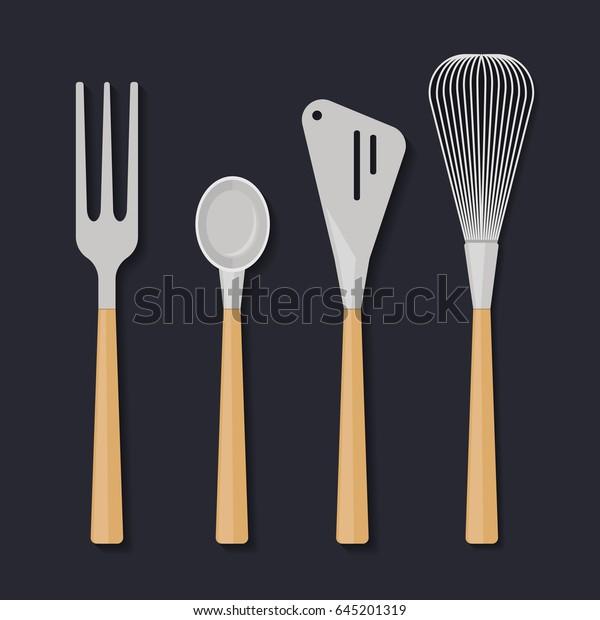 Ikea Kitchen Utensils Illustration Flat Design Stock Vector ...